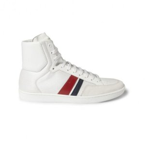 SAINT-LAURENT--SL04H-LEATHER-AND-MESH-HIGH-TOP-SNEAKERS